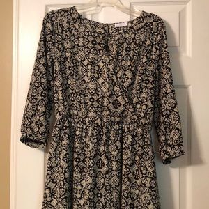 Lush dress, black and cream, Large, faux wrap